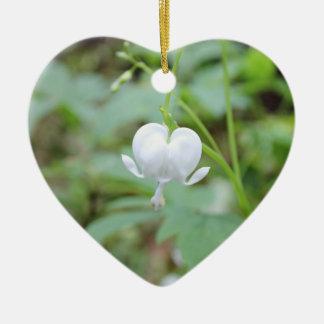 White Bleeding Heart Heart-Shaped Ornament