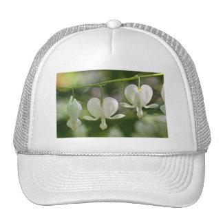 White Bleeding Hearts Flowers Mesh Hats