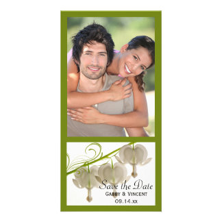 White Bleeding Hearts Wedding Save the Date Photo Cards