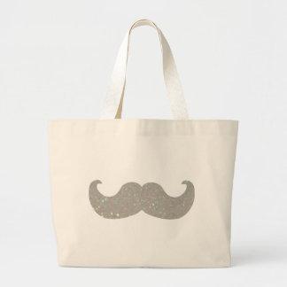 White Bling Moustache (Faux Glitter Graphic) Bag
