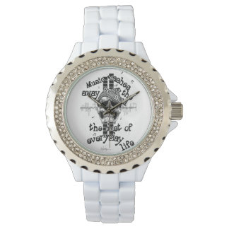 White Bling Music Skull Watch. Watch