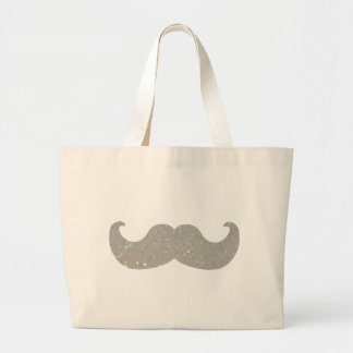 White Bling Mustache (Faux Glitter Graphic) Large Tote Bag