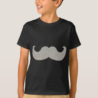 White Bling Mustache (Faux Glitter Graphic) Shirt