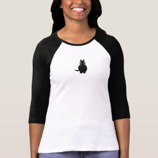 White/blk Girls tee 3/4 inch sleeve with black cat