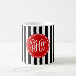White Blk Vert Stripe 6x Red Vine Script Monogram Coffee Mug