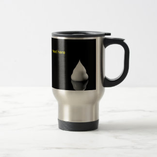 white blob of cream is reflected in black backgrou mug