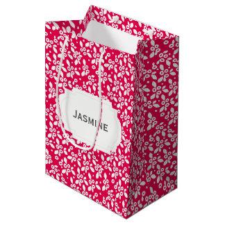 White blooming floral pattern customize background medium gift bag
