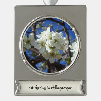 White Blossom Clusters Spring Flowering Pear Tree Silver Plated Banner Ornament