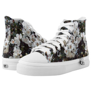 White Blossom, Floral High Tops