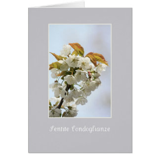 white blossom sympathy card italian