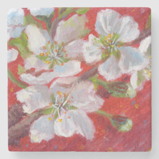 White Blossoms on Red Marble Coster Stone Coaster