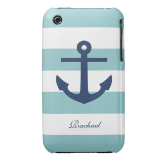 White & Blue Anchors Aweigh iPhone 3 Case-Mate Cases