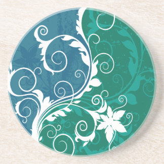 White Blue and Green Floral Grunge Coaster