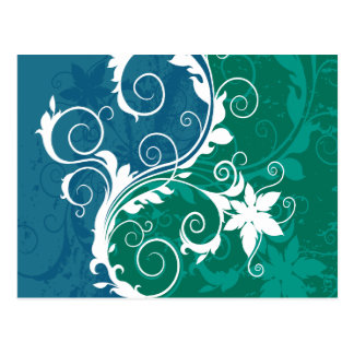 White Blue and Green Floral Grunge Postcard