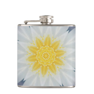 WHITE, BLUE, AND YELLOW STARBURST FLASK