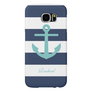 White Blue & Aqua Anchors Aweigh Samsung Galaxy S6 Cases