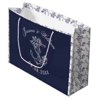 White & Blue Boat Anchors Wedding Design Large Gift Bag