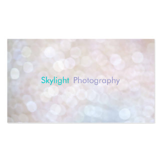 White Blue Bokeh Photography Business Cards