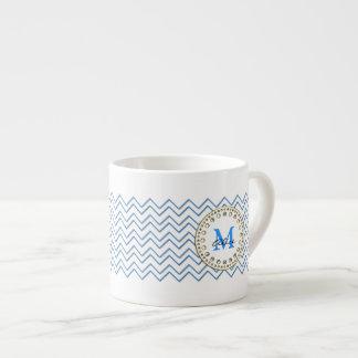 White Blue Chevron Pattern Espresso Mug