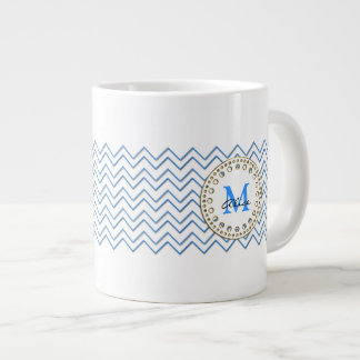 White Blue Chevron Pattern Mug