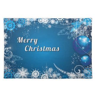 White blue christmas decoration placemat