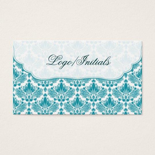 White & Blue Elegant Retro Floral Damask Business Card
