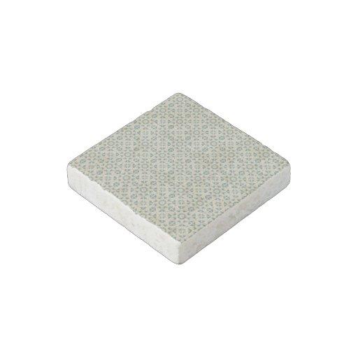 White Blue Geometric Pattern BAckground Stone Magnet