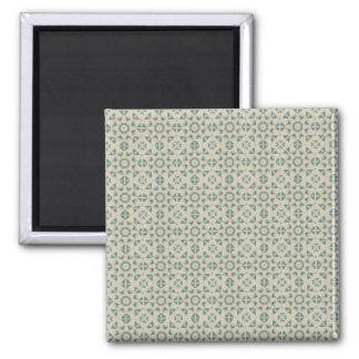 White Blue Geometric Pattern BAckground Square Magnet