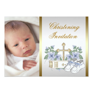 White Blue Gold Baby Boy Photo Christening Card