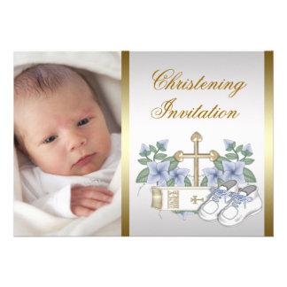 White Blue Gold Baby Boy Photo Christening Invite