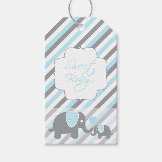 White, Blue & Gray Stripe Elephants Baby Shower Gift Tags