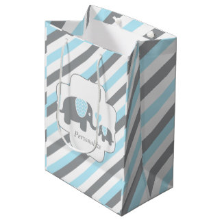 White, Blue & Gray Stripe Elephants Baby Shower Medium Gift Bag