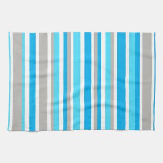 White Blue Grey Stripes Kitchen Towel
