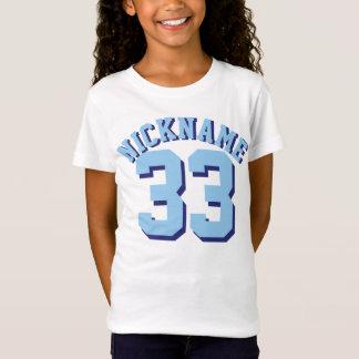 White & Blue Kids   Sports Jersey Design T-Shirt