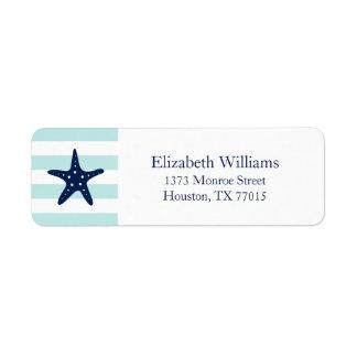 White Blue Mint Stripes Starfish