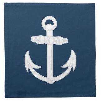 White/Blue Nautical Anchor Symbol Napkin