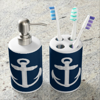 White/Blue Nautical Anchor Symbol Soap Dispenser And Toothbrush Holder