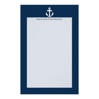 White/Blue Nautical Anchor Symbol Personalised Stationery