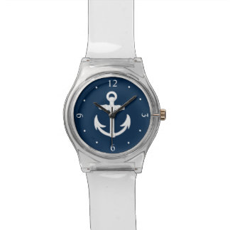 White/Blue Nautical Anchor Symbol Watch