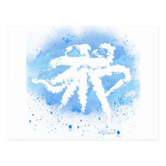 White/Blue Octopus Postcard