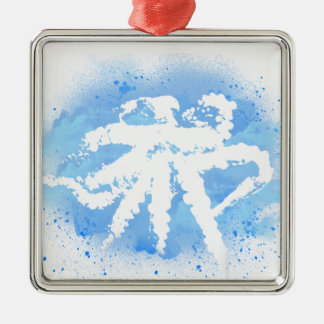 White/Blue Octopus Silver-Colored Square Decoration