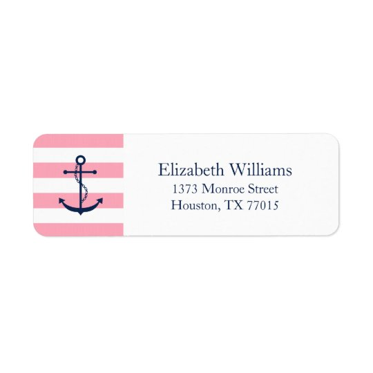 White Blue Pink Anchor and Stripes Return Address Label