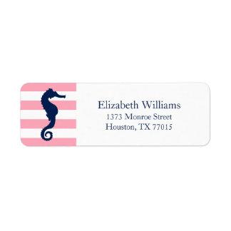 White Blue Pink Stripes Seahorse