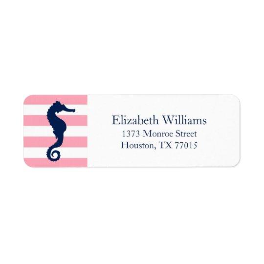 White Blue Pink Stripes Seahorse Return Address Label