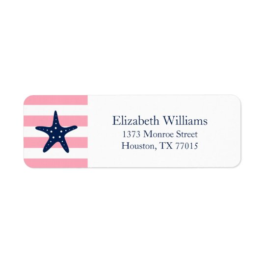 White Blue Pink Stripes Starfish Return Address Label