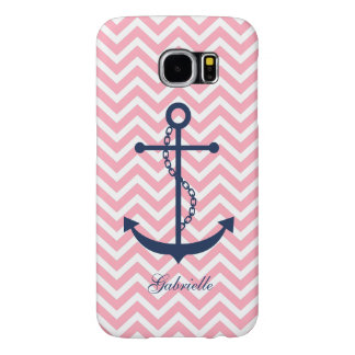 White Blue & Pink Zigzag Pattern Anchor Samsung Galaxy S6 Cases