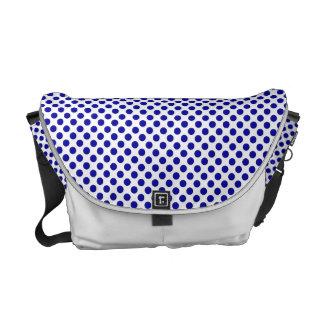 White Blue Polka Dots - Messenger Bag