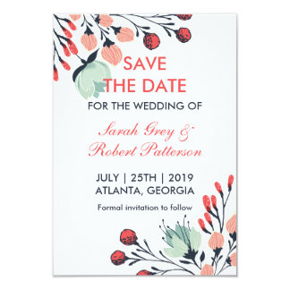 White Blue Red Vintage Flower Save The Date Card 9 Cm X 13 Cm Invitation Card