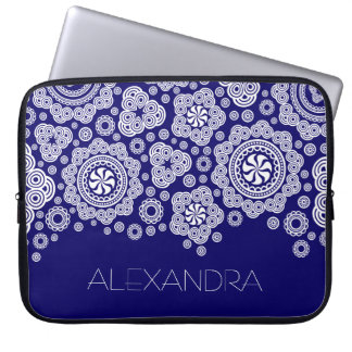 White & Blue Retro Ornate Circles-Monogram Laptop Sleeve