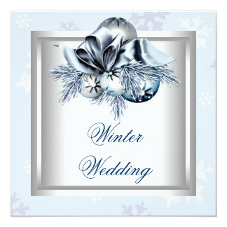 White Blue Snowflake Blue Winter Wedding Card